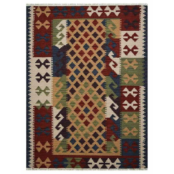 St Catherine Handmade Kilim Wool Red/Green/Blue Area Rug by Millwood Pines