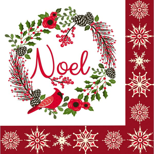 Merry Christmas Wreath Paper Cocktail Napkin (Set of 20) by The Holiday Aisle