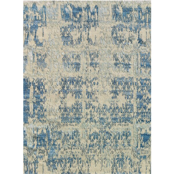 Brettany Hand-Knotted Blue/Beige Area Rug by Williston Forge