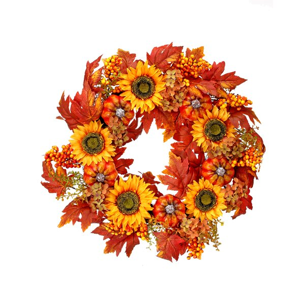 24 Hydrangea Sunflower Harvest Mixed Wreath by August Grove