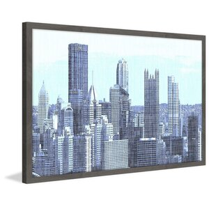 'Pittsburgh Skyline' Framed Painting Print by Marmont Hill
