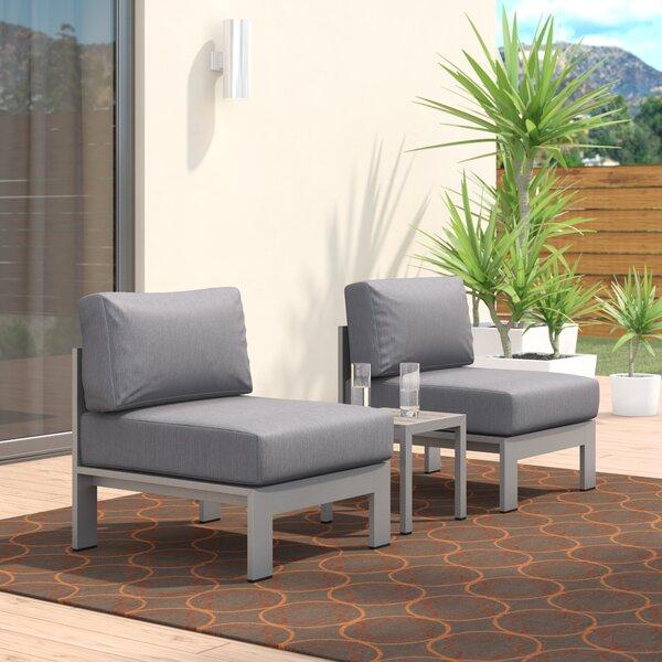 Coline 3 Piece Outdoor Patio Aluminum Sectional Chair Set with Cushions by Orren Ellis Orren Ellis