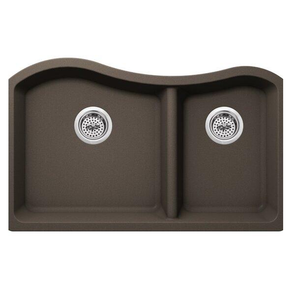 32.5 L x 20 W Quartz Double Bowl Kitchen Sink by Soleil