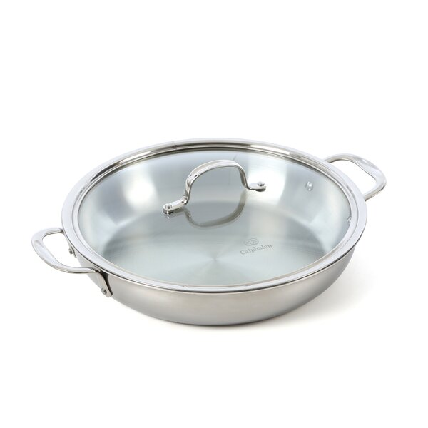 Tri-Ply Stainless Steel 12 Frying Pan with Lid by Calphalon