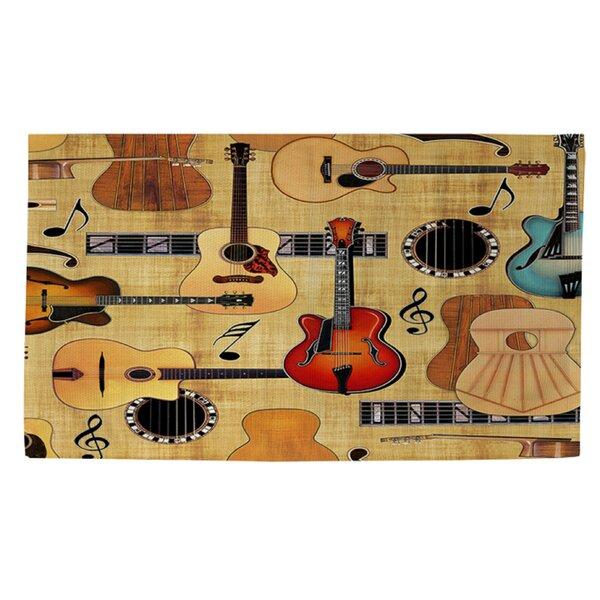 Guitar Collage Cream Area Rug by Manual Woodworkers & Weavers