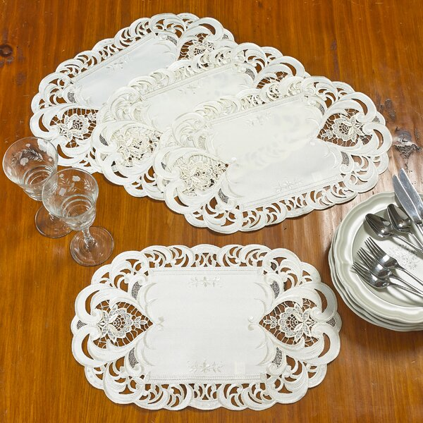 Marcos Decorative Rose Handmade Embroidered Cutwork 12 Placemat (Set of 4) by Astoria Grand