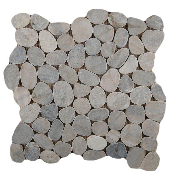 Flat Venetian Pebbles 12 x 12 Mosaic Tile in Silver by Emser Tile