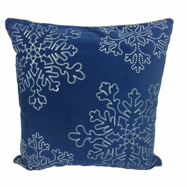 Holiday Snow Flakes Embroidered Velvet Throw Pillow by The Holiday Aisle