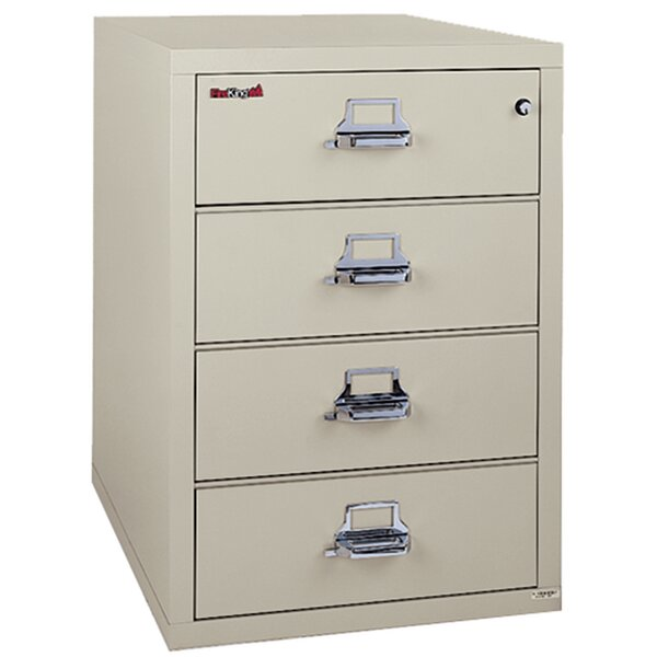 Fireproof 4-Drawer Card, Check, and Note Vertical File Cabinet
