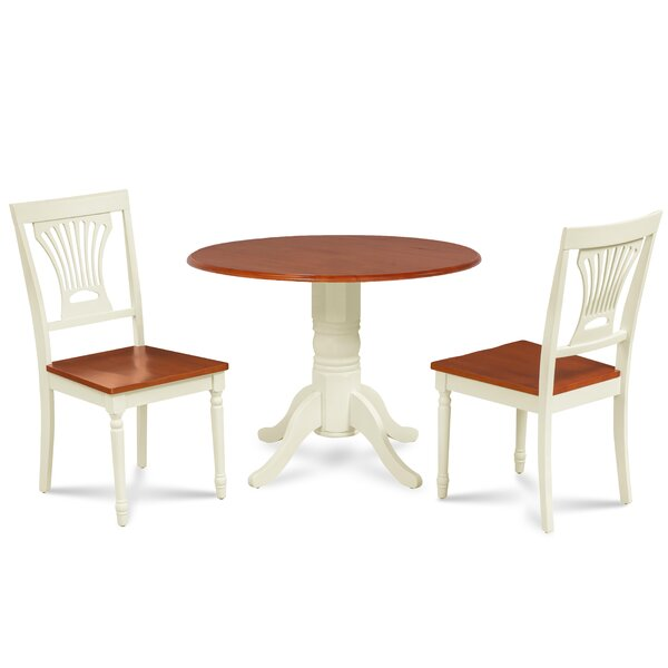 Forthill 3 Piece Solid Wood Dining Set by Alcott Hill