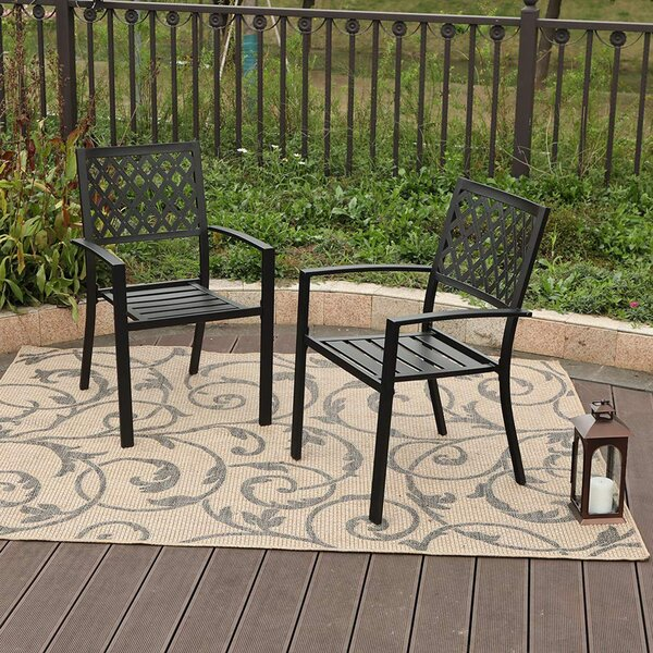 Dodgeville Wrought Iron Stacking Patio Dining Chair (Set of 2) by Charlton Home