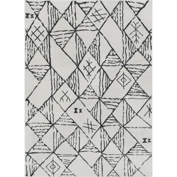 Peebles Magnificent Moroccan Trellis Geometric Mid-Century Soft Gray Area Rug by Bloomsbury Market