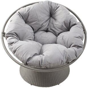 Baddeley Outdoor Distressed Synthetic Rattan Swivel Papasan Chair With  Cushion
