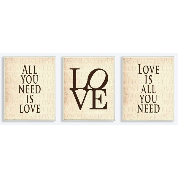 All you Need is Love 3 Piece Textual Art Wall Plaque Set by Stupell Industries