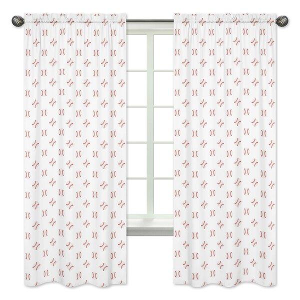 Baseball Patch Semi-Sheer Curtain Panels (Set of 2) by Sweet Jojo Designs
