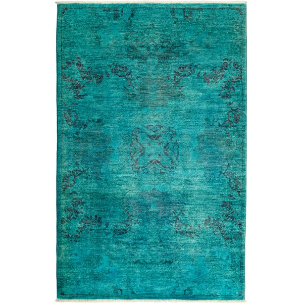 One-of-a-Kind Kingswood Hand Knotted Wool Blue Area Rug by Everly Quinn