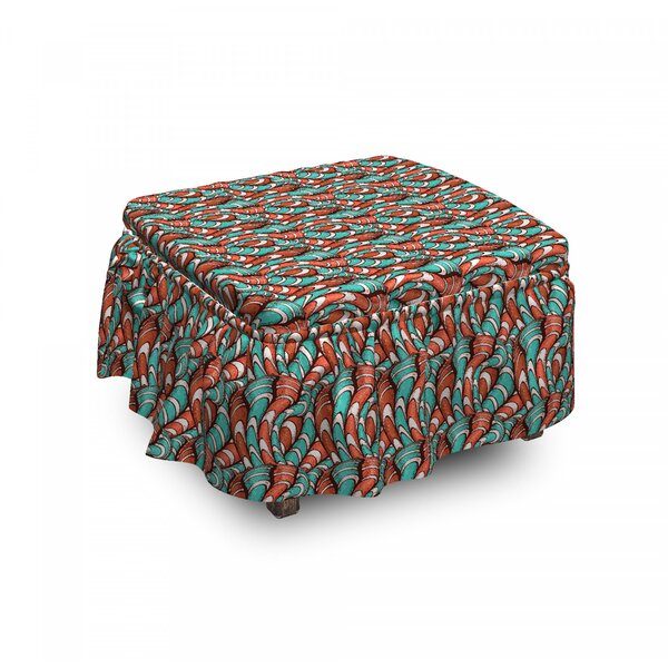 Wavy Lines Grunge Ottoman Slipcover (Set Of 2) By East Urban Home