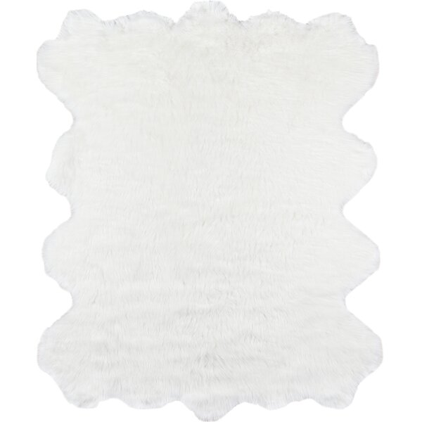 Touchstone Faux Fur Ivory Area Rug by Union Rustic