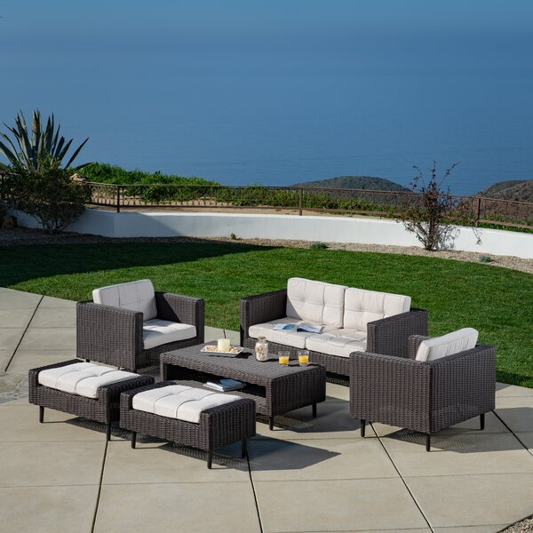 Borealis 6 Piece Rattan Sofa Seating Group with Cushions by Wrought Studio