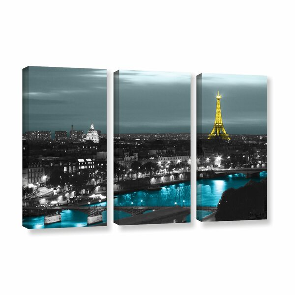 Paris by Revolver Ocelot 3 Piece Photographic Print on Wrapped Canvas Set by ArtWall