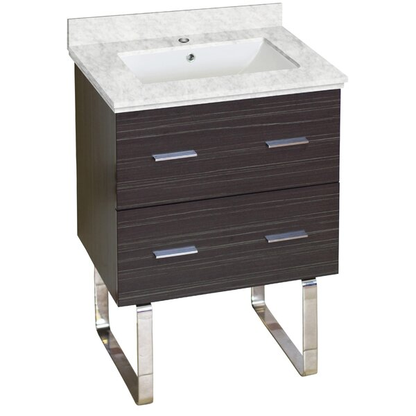 Phoebe Marble Top Drilling Floor Mount 24 Single Bathroom Vanity Set by Orren Ellis