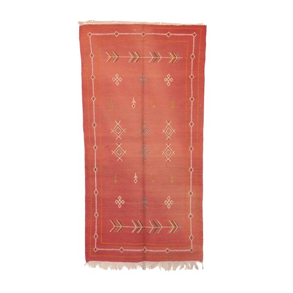 Aknif Moroccan Hand-Woven Wool Red Area Rug by Indigo&Lavender