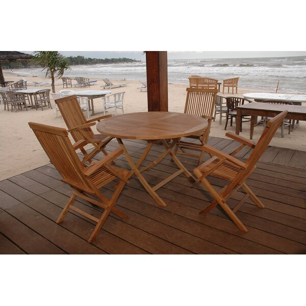Farnam 5 Piece Teak Dining Set by Rosecliff Heights
