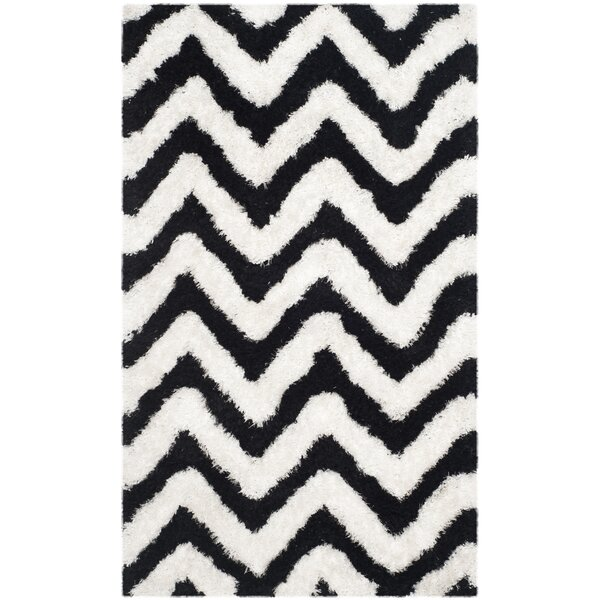 Barcelona Shag Hand-Tufted Cotton Ivory/Black Area Rug by Safavieh