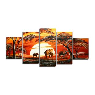 African Landscape 5 Piece Painting on Canvas Set