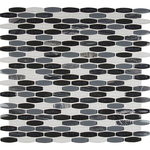 Haley Gris Glass/Stone Mosaic Tile in Black/Gray by MSI