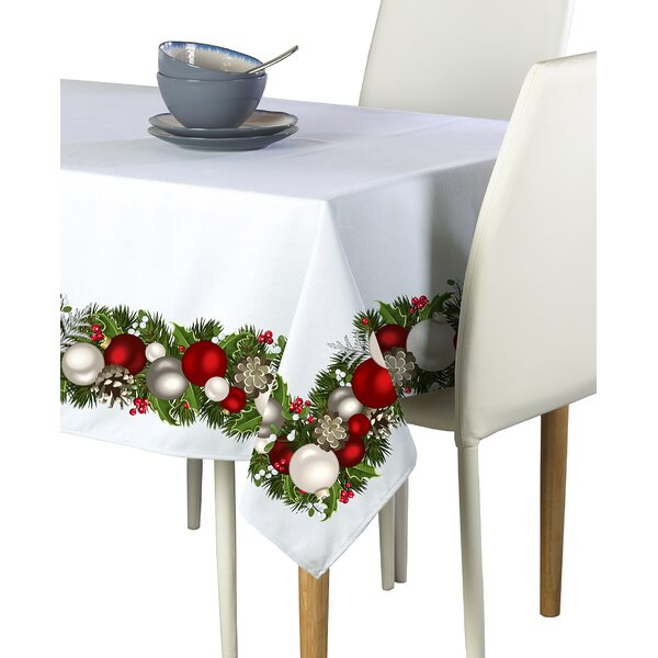 Emmett Christmas Garland Border Tablecloth by The