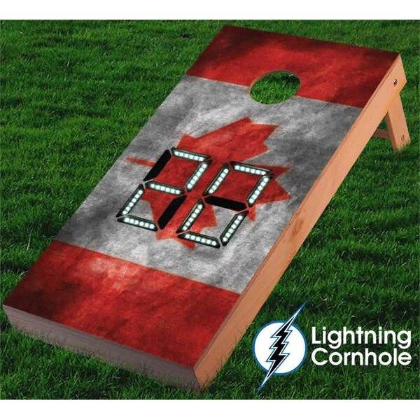 Electronic Scoring Canadian Flag Cornhole Board by Lightning Cornhole