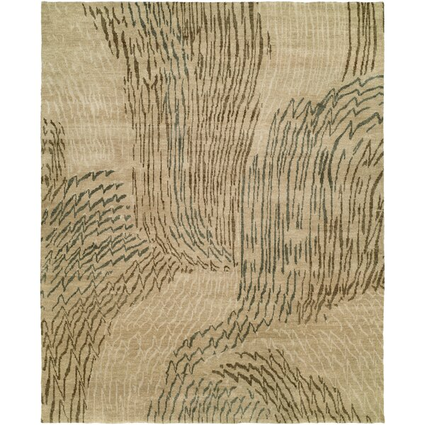 Cody Abstract Hand-Knotted Wool Beige Area Rug