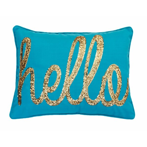 Garnell Hello Sequin Script Lumbar Pillow by Willa Arlo Interiors