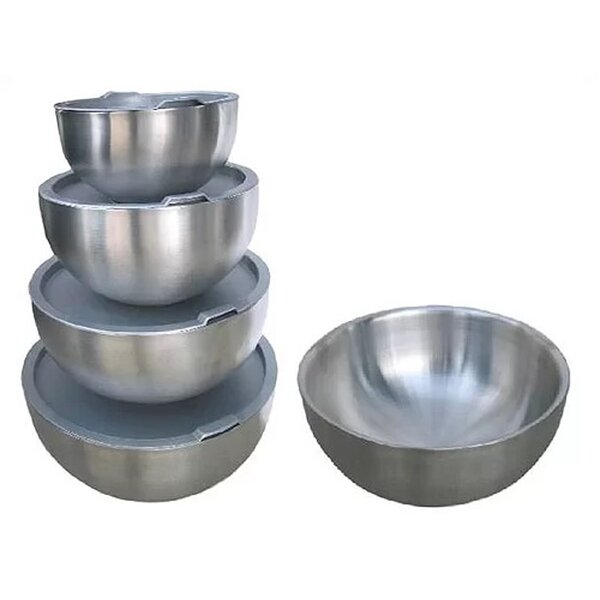 4 Piece Double Wall Stainless Steel Mixing Bowl Set with Seal Tight Lids by Starcraft