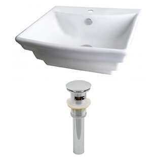 Top Ceramic Rectangular Vessel Bathroom Sink with Overflow By American Imaginations