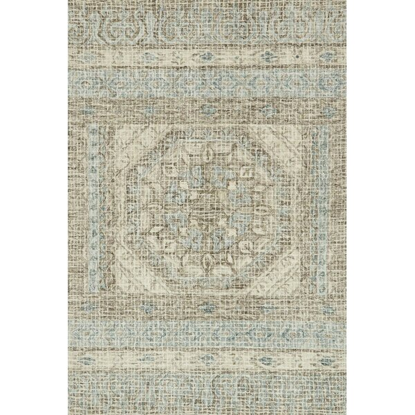 Zeinab Hand Hooked Wool Stone/Blue Area Rug by Bungalow Rose