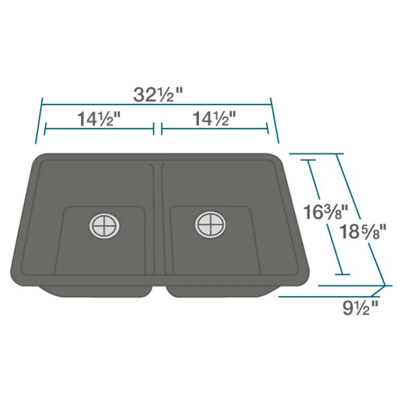 Granite Composite Undermount Kitchen Sinks Renbyelkay granite composite 33 x 19 double basin undermount granite composite 33 x 19 double basin undermount kitchen sink with hardware workwithnaturefo