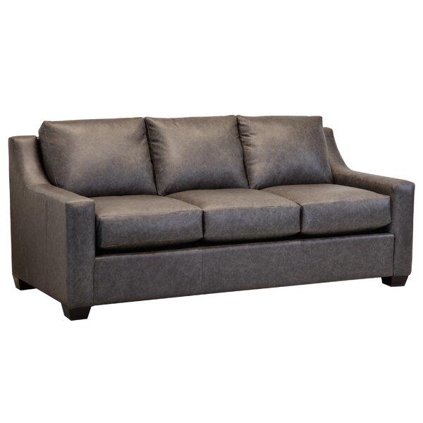 Made In Usa Waldemar Distressed Grey Top Grain Leather Sofa By Ebern Designs