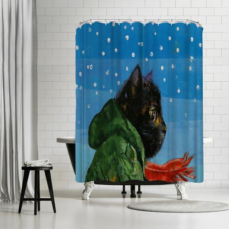 Michael Creese Winter Kitten Shower Curtain