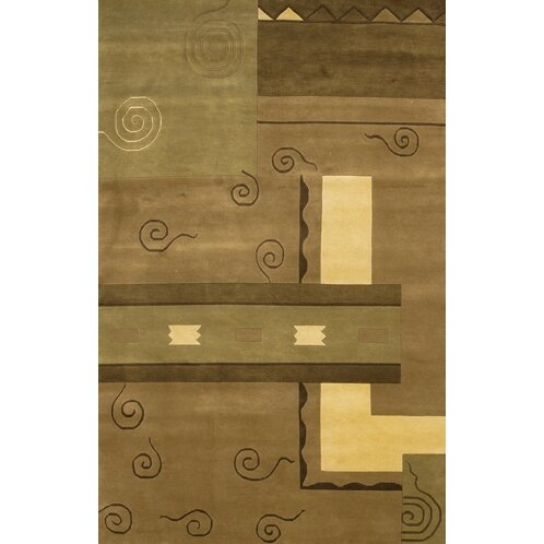 Caines Contemporary Hand Woven Brown/Tan Wool Area Rug by Fleur De Lis Living