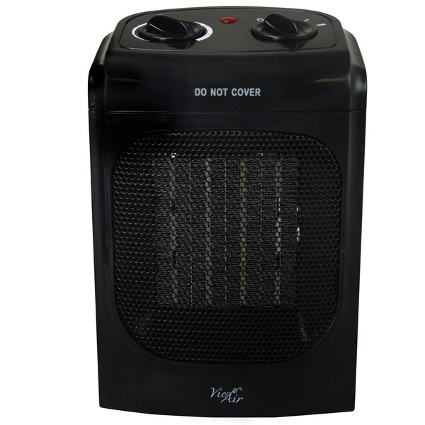 Portable 2 Settings Home Ceramic 1,500 Watt Electric Fan Compact Heater with Adjustable Thermostat by Vie Air