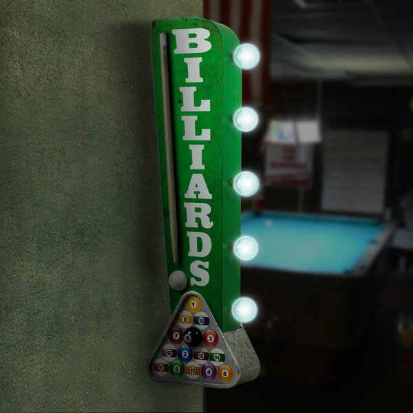 Billiards Pool Cue LED Marquee Sign by Crystal Art Gallery