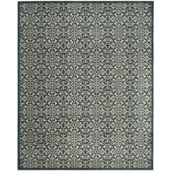 McClusky Turquoise/Cream Area Rug by Bungalow Rose