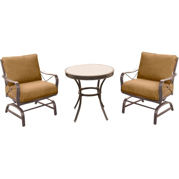 Rhonda 3 Piece Round Bistro Set with Cushions by Fleur De Lis Living