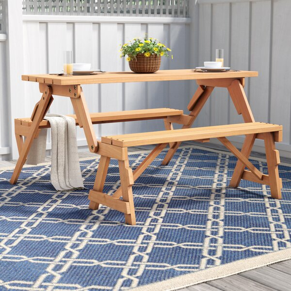 Andres Folding Picnic Table and Bench by Freeport