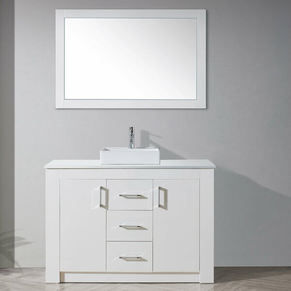 Glen Ridge 48 Single Bathroom Vanity Set with White Top and Mirror by Wade Logan