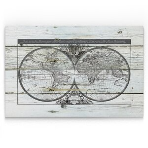 'World Map Hemispheres' Painting Print on Wrapped Canvas by Williston Forge