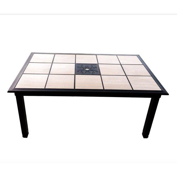 Crest Tile Aluminum Dining Table by Fleur De Lis Living