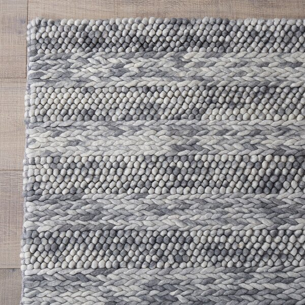 Ambridge Hand-Woven Wool Grey Area Rug by Wade Logan
